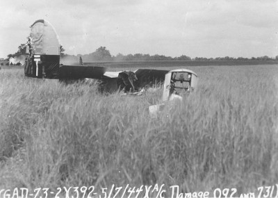 42-95092 Fidel's plane after crash – 5 Jul 44