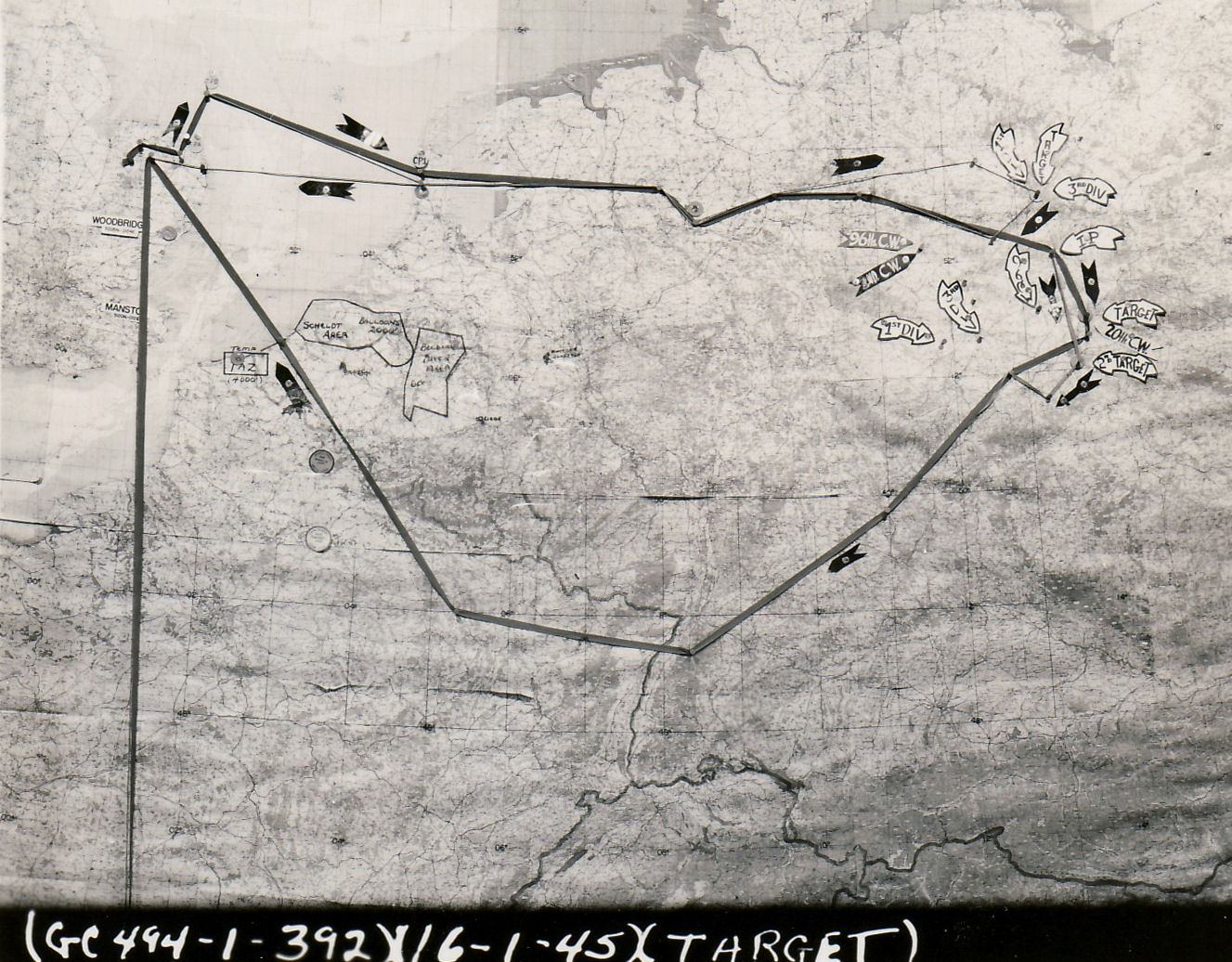 16 Jan 45 mission map