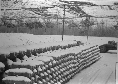 Bombs under camouflaged nets in Honeypot woods